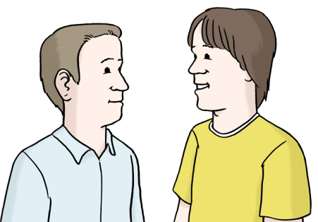 Zwei Menschen unterhalten sich