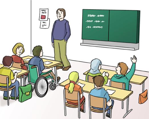 Klassensituation mit Schülern und Lehrer