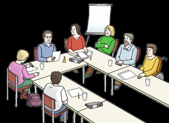 7 Personen bei einer Sitzung